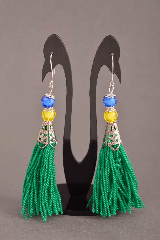 pendientes largos Bisutería fina aretes artesanales de hilos acrílicos accesorios de mujer , MADEheart.com