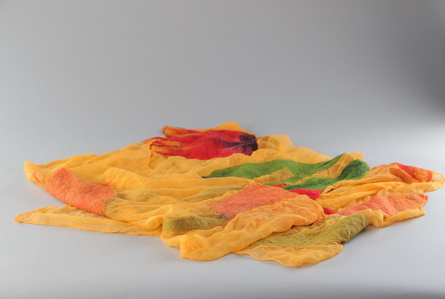 Yellow thin scarf hand made of silk and chiffon with felted wool flowers  photo 3