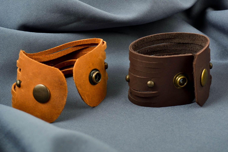 handmade jewelry set leather wrap bracelets handmade leather goods cool gifts photo 1