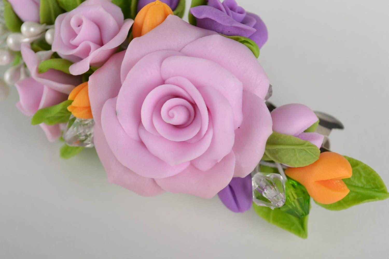 Haarspange Blume handmade Damen Modeschmuck Accessoire für Haare bunt schön foto 2