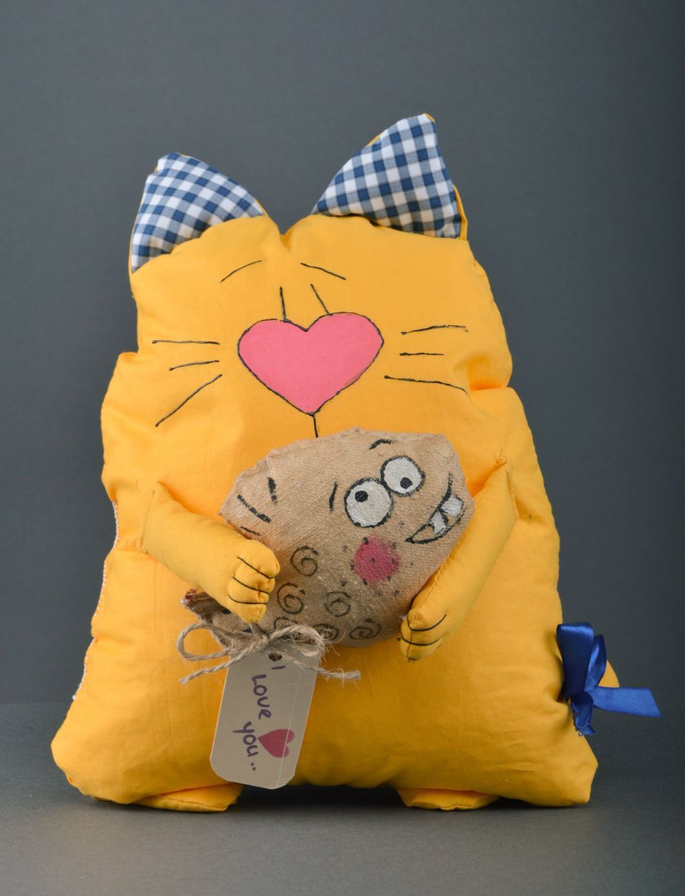Large handmade aroma sachet pillow yellow toy cat with herbs inside photo 1