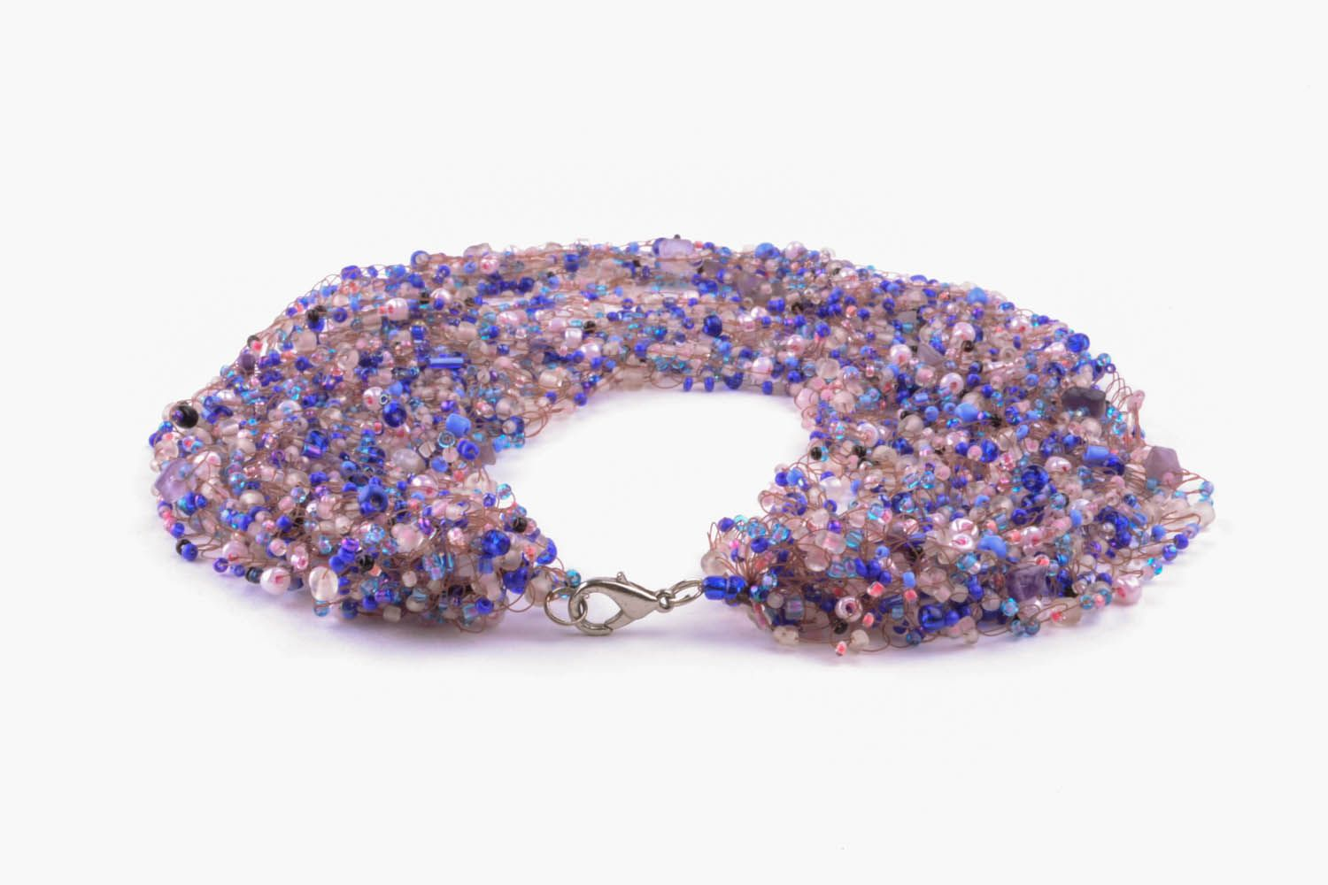Violet necklace made of beads and natural stones photo 4