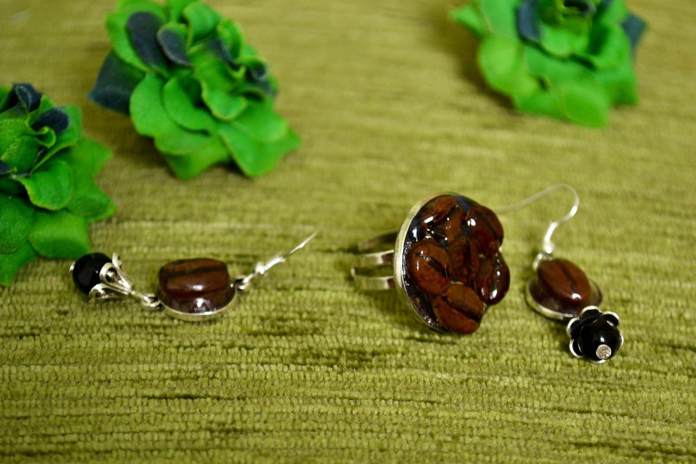 Unusual handmade epoxy earrings epoxy ring gemstone jewelry set handmade gifts photo 1