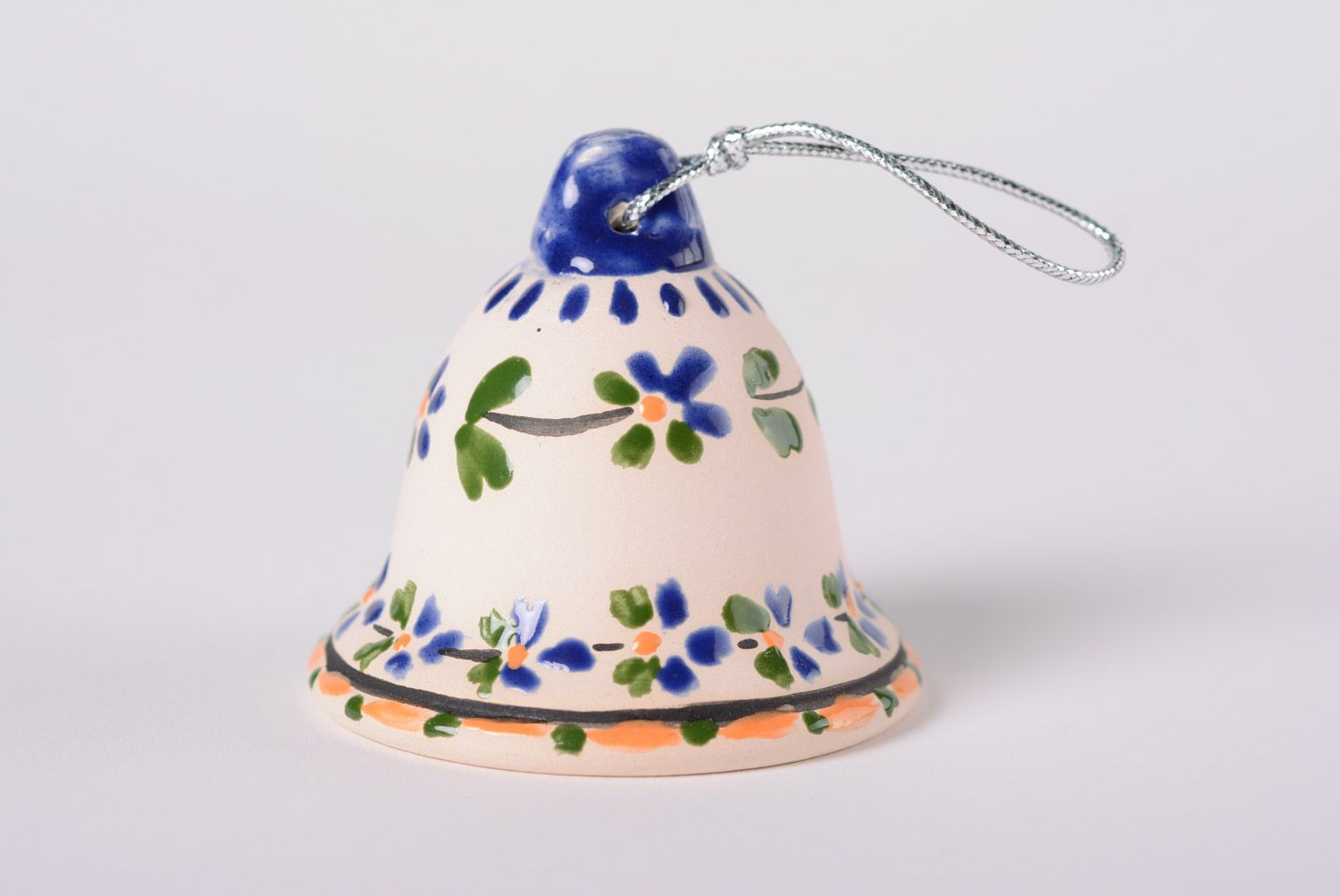 Handmade ceramic bell with painting majolica style with a loop interior decor ideas photo 1