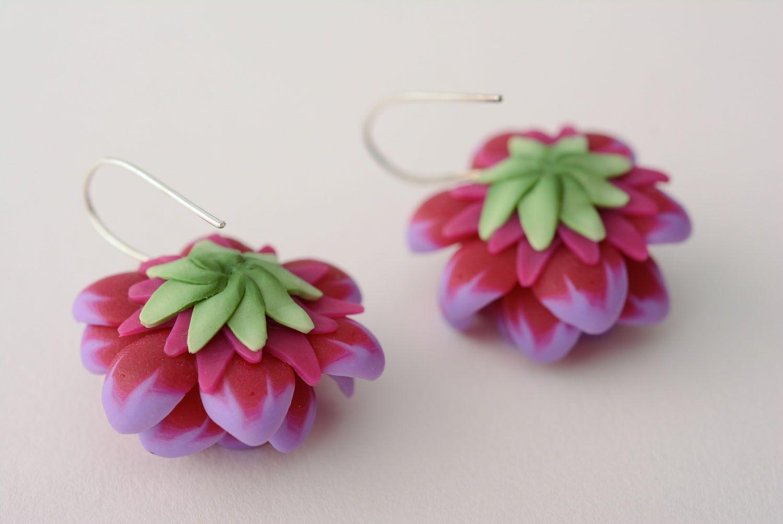 Polymer clay earrings Violet Lotus photo 5