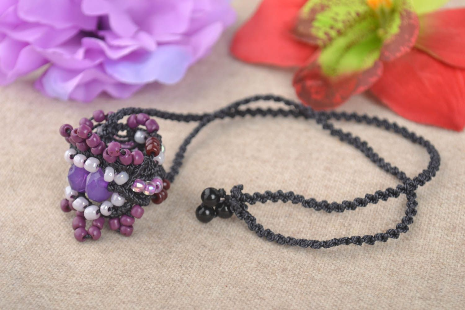 Macrame necklace handmade necklace homemade jewelry women accessories gift ideas photo 1