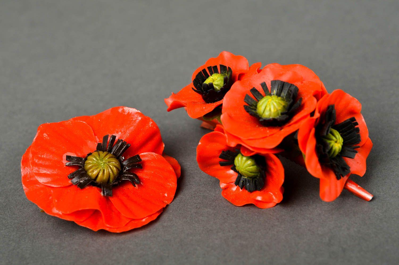 Украшения ручной работы набор аксессуаров заколка с цветком и женская брошь фото 2