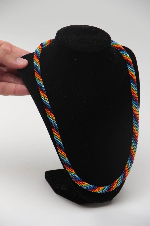 Buntes langes handgemachtes geflochtenes Litze Collier aus Glasperlen Halskette foto 5