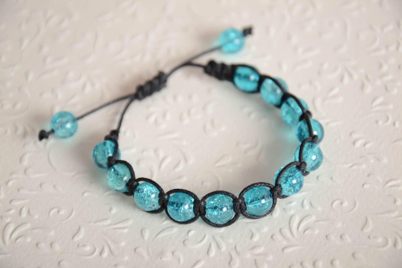 Handmade adjustable bracelet blue beaded accessory stylish wrist bracelet photo 2
