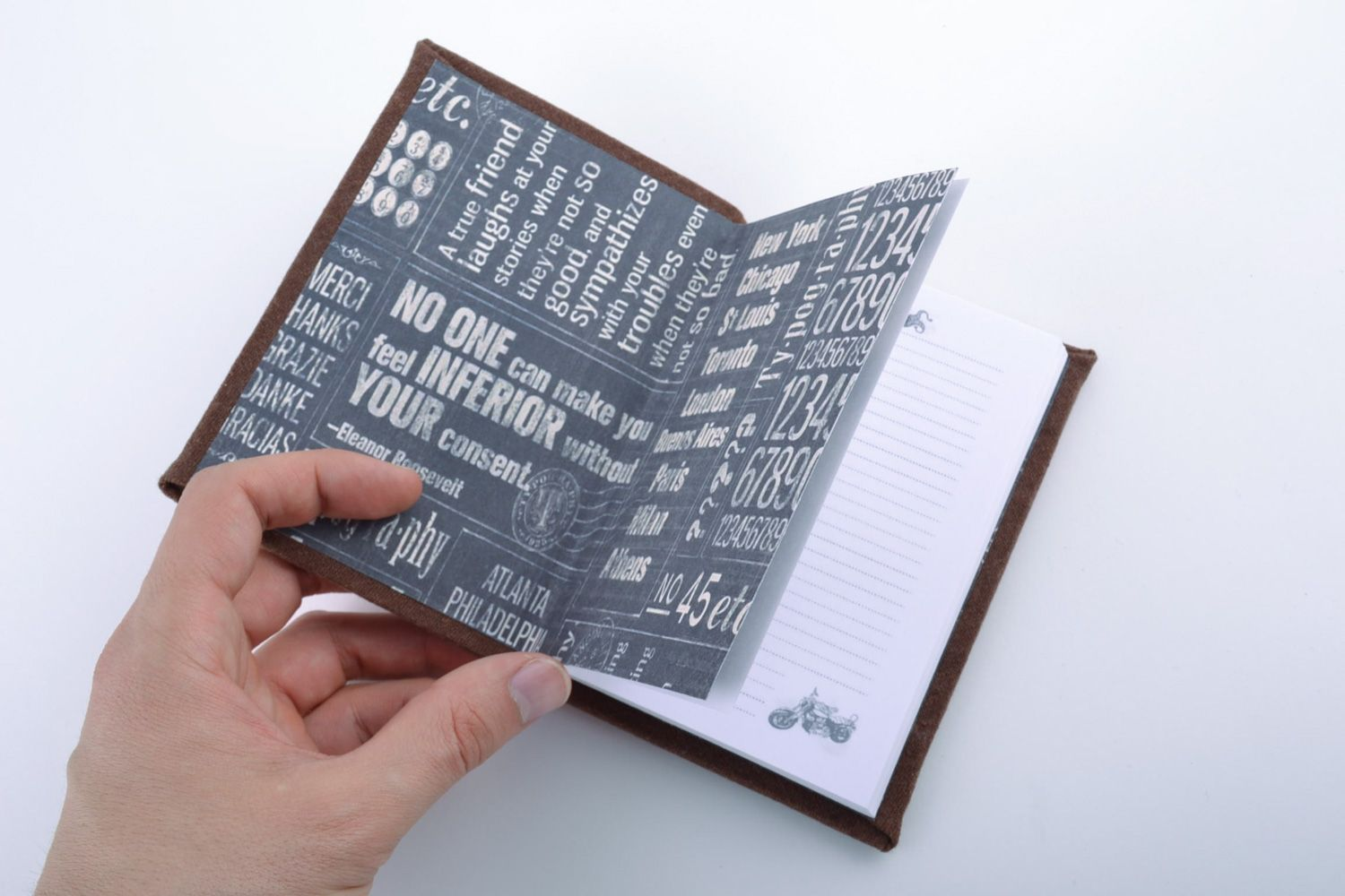 Handmade beautiful notebook with fabric cover with the image of retro motorbike - MADEheart.com