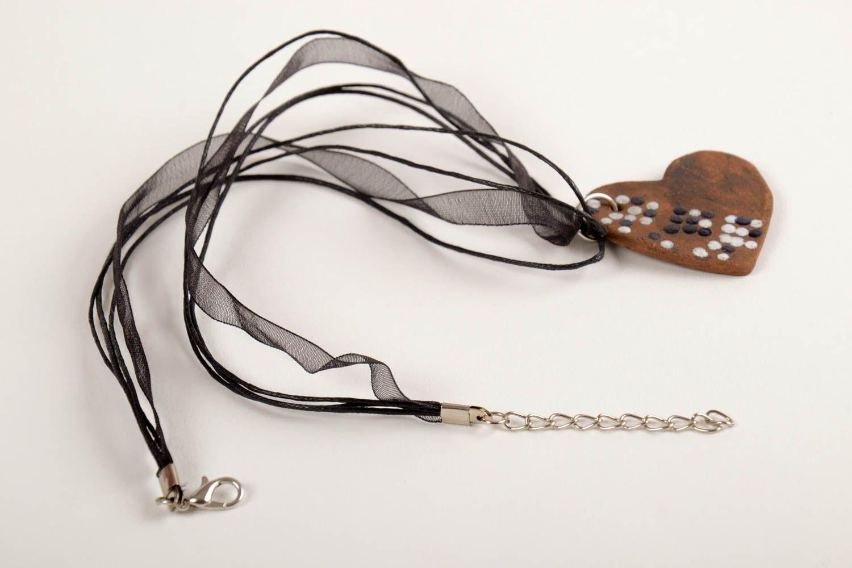 Кулон ручной работы керамическое украшение с росписью украшение на шею Сердце фото 5