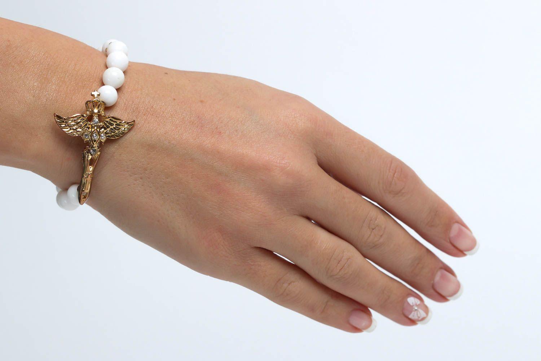 Handmade designer beaded bracelet unusual tender jewelry bracelet with charm photo 5