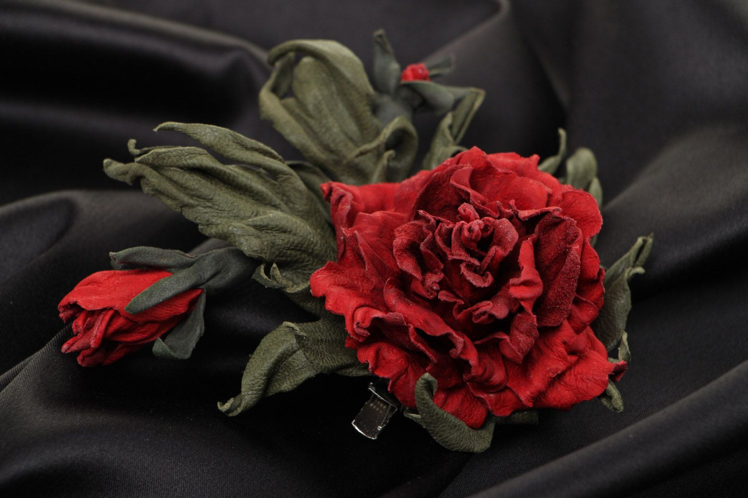 Handmade natural leather brooch with dark red volume flower for outer clothes photo 1