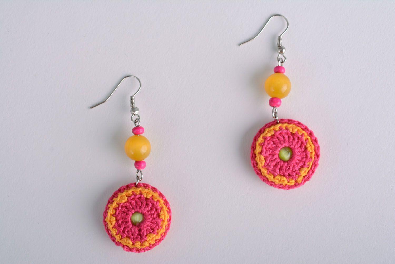 Homemade crocheted over earrings photo 1