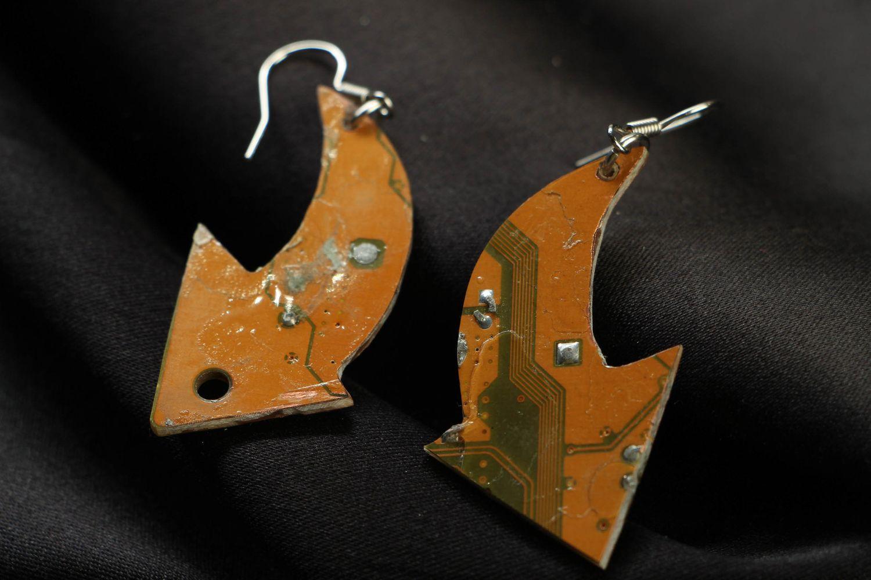 Unusual metal earrings in steampunk style Arrows photo 3