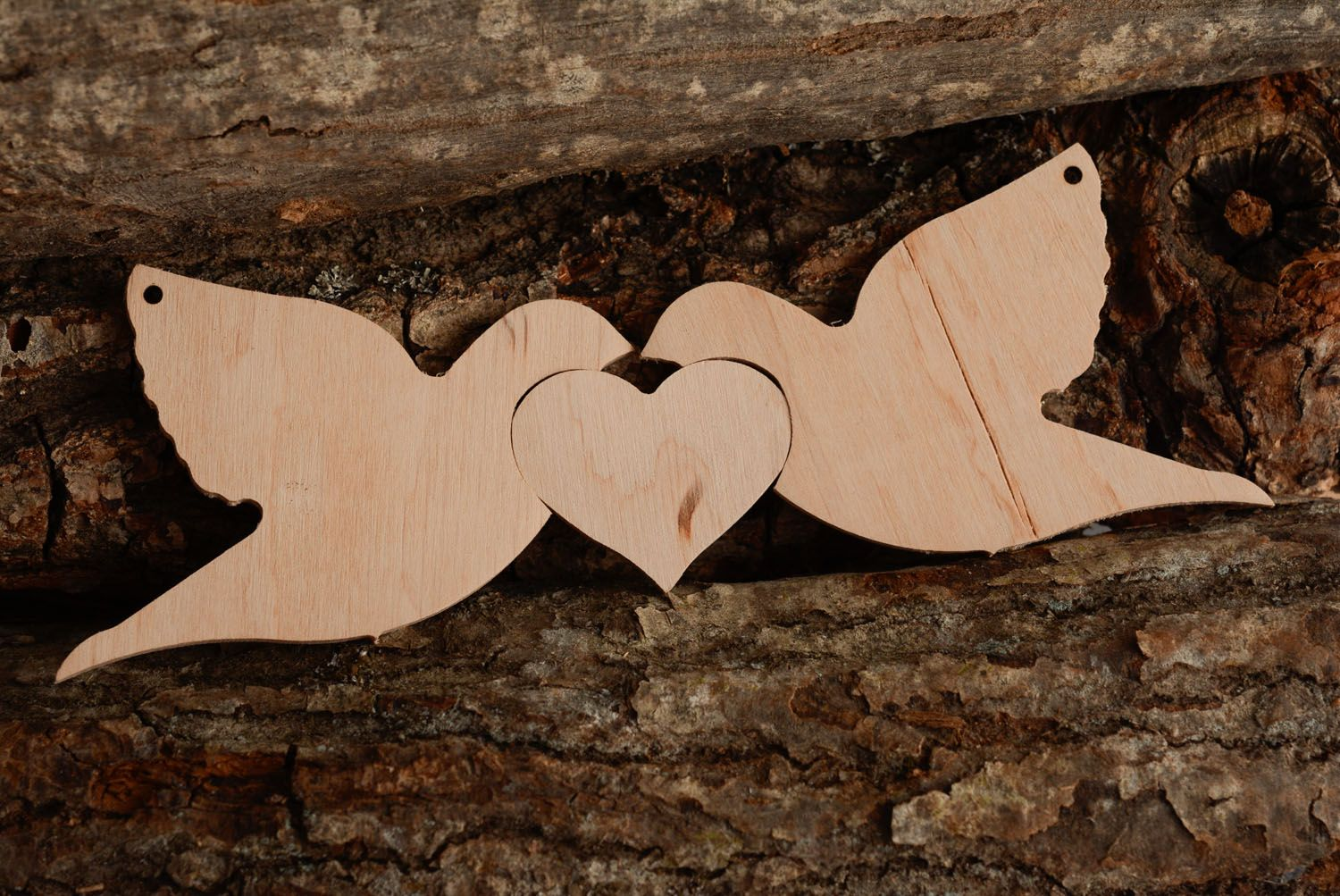 Wooden blank for painting Birds in Love photo 1