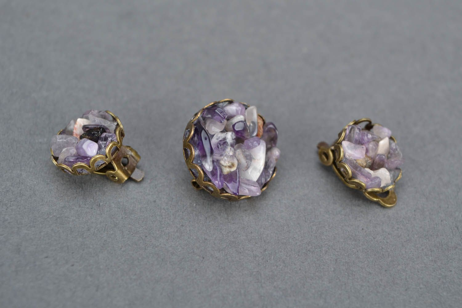 Jewelry set made of natural stone photo 3