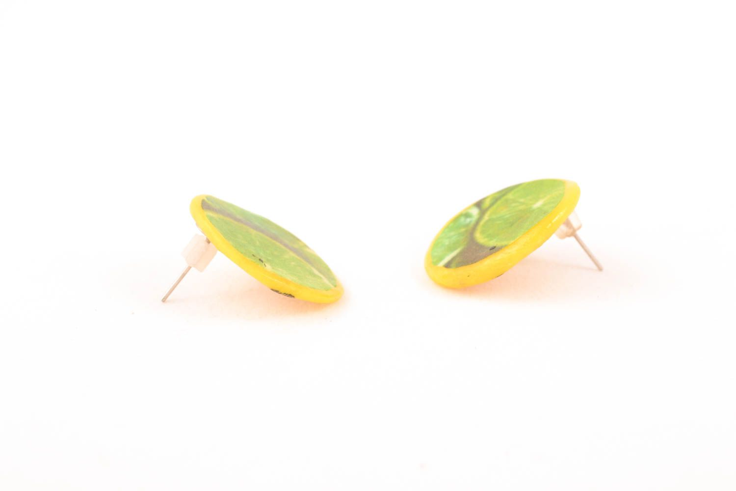 Polymer clay stud earrings photo 1