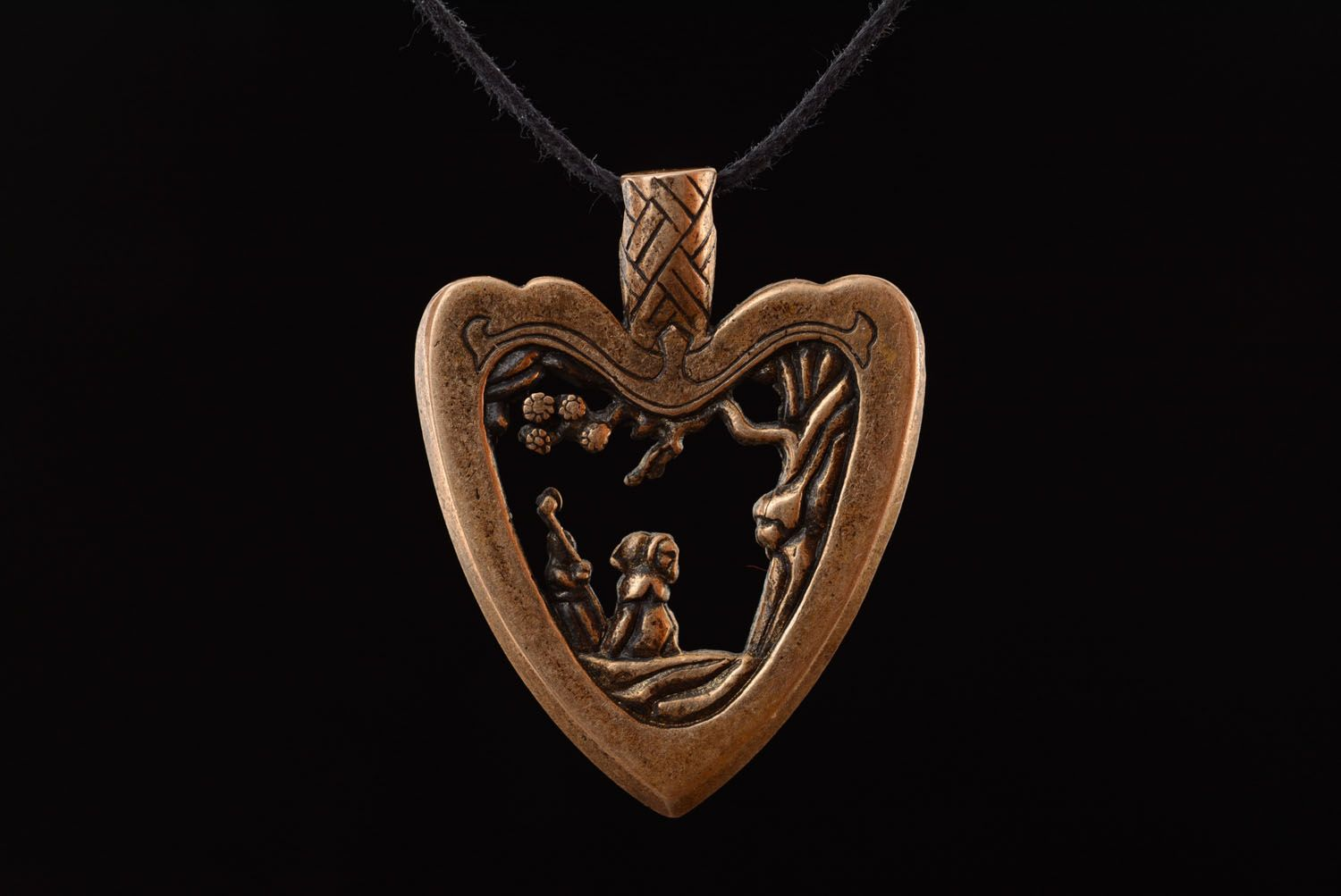 Bronze pendant Japanese Heart photo 3