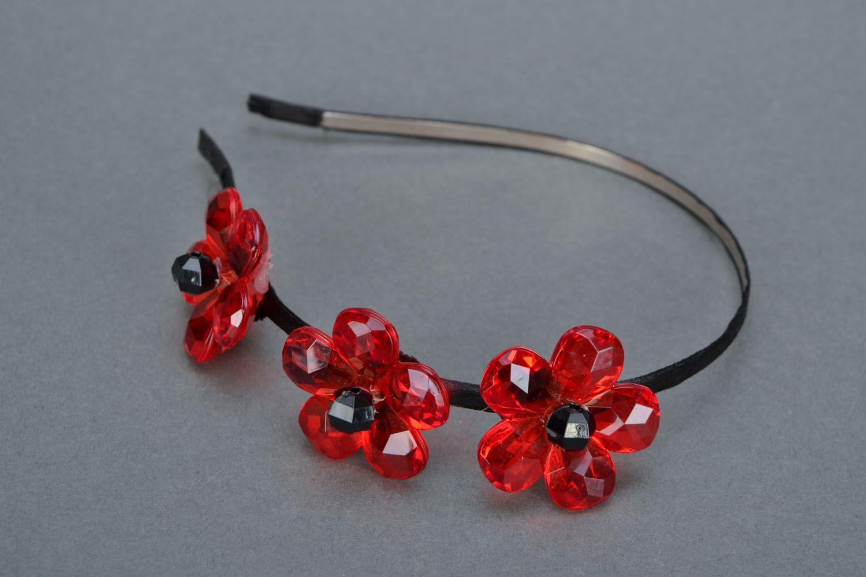Headband Red Flower photo 3