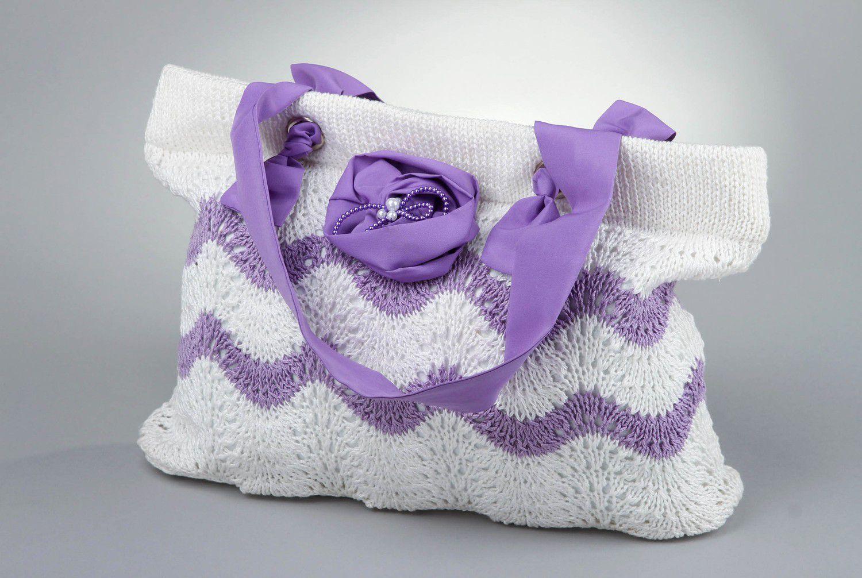 Stylish knitted cotton bag photo 1