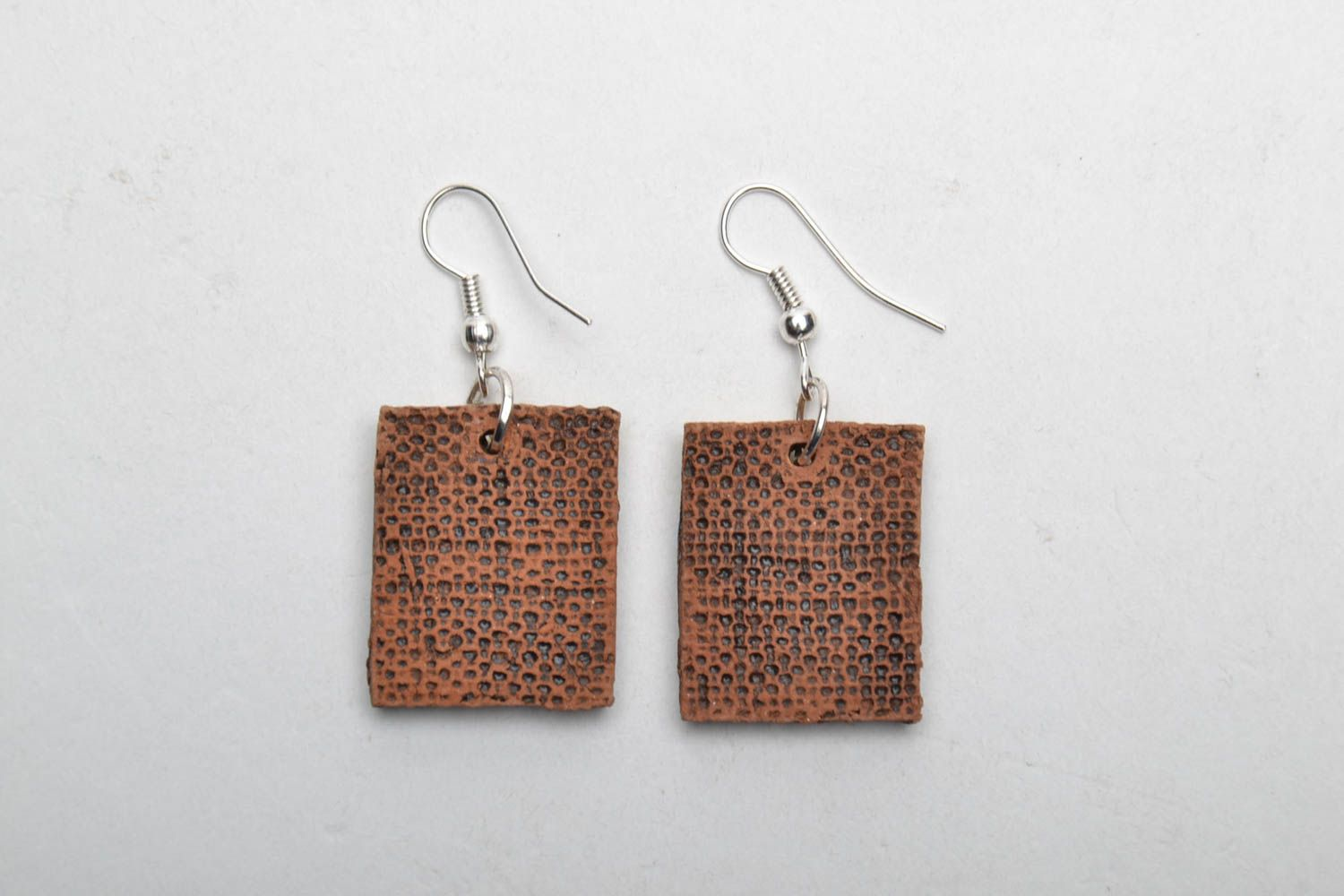 Square clay earrings photo 5
