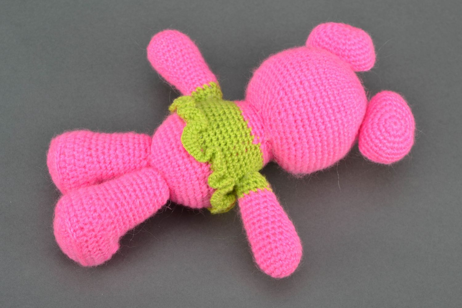 Soft crochet toy Pink Bear in Jacket photo 4