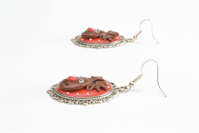 Homemade earrings Deer photo 3