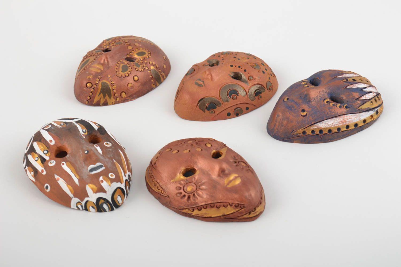 Set of 5 handmade designer painted clay fridge magnets miniature carnival masks photo 2
