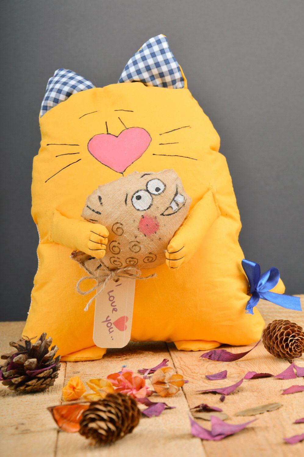 Large handmade aroma sachet pillow yellow toy cat with herbs inside photo 5