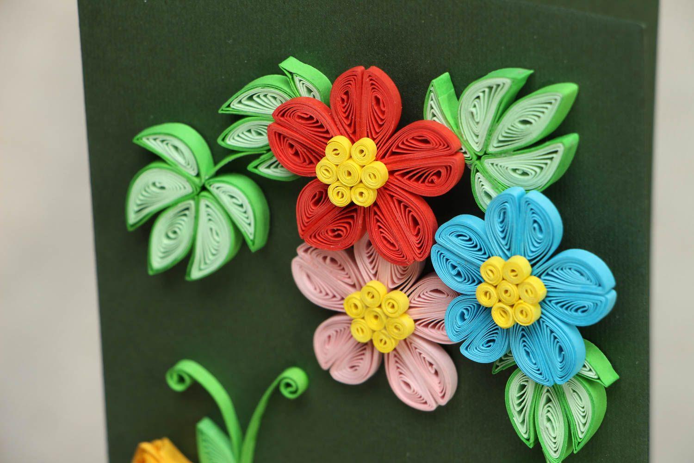 Поздравляем, открытка цветы из квиллинга