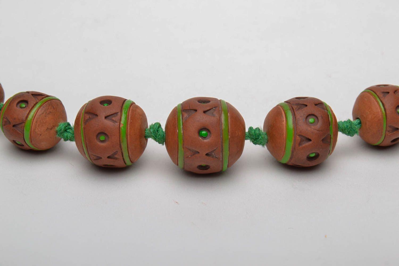 Broe=wn ceramic bead necklace photo 4