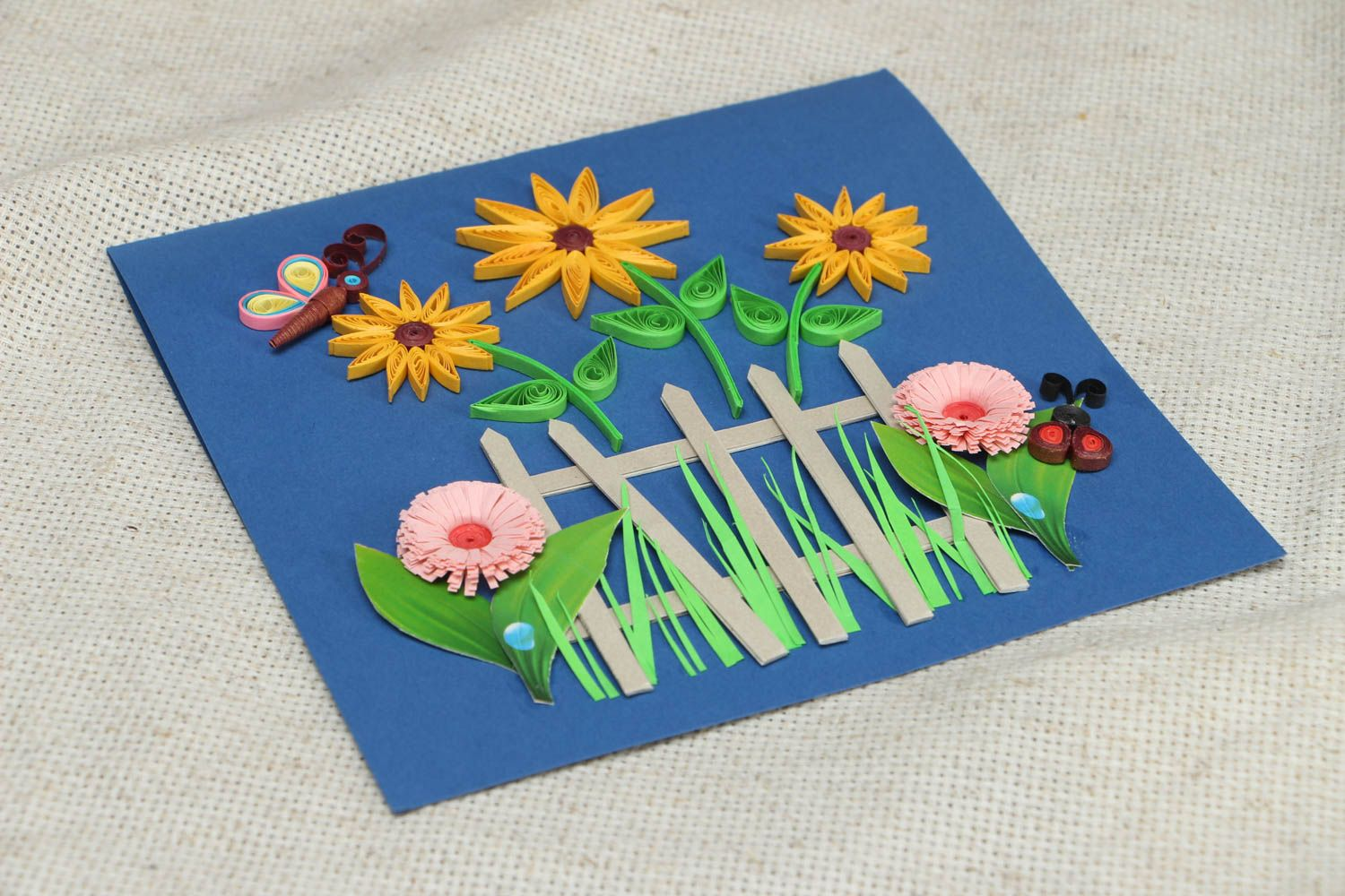 Handmade quilling greeting card with flowers photo 3