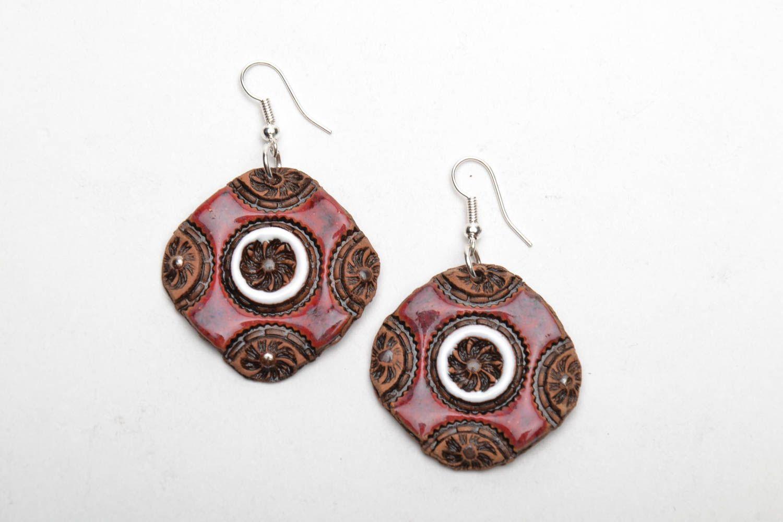 Handmade ceramic earrings photo 3