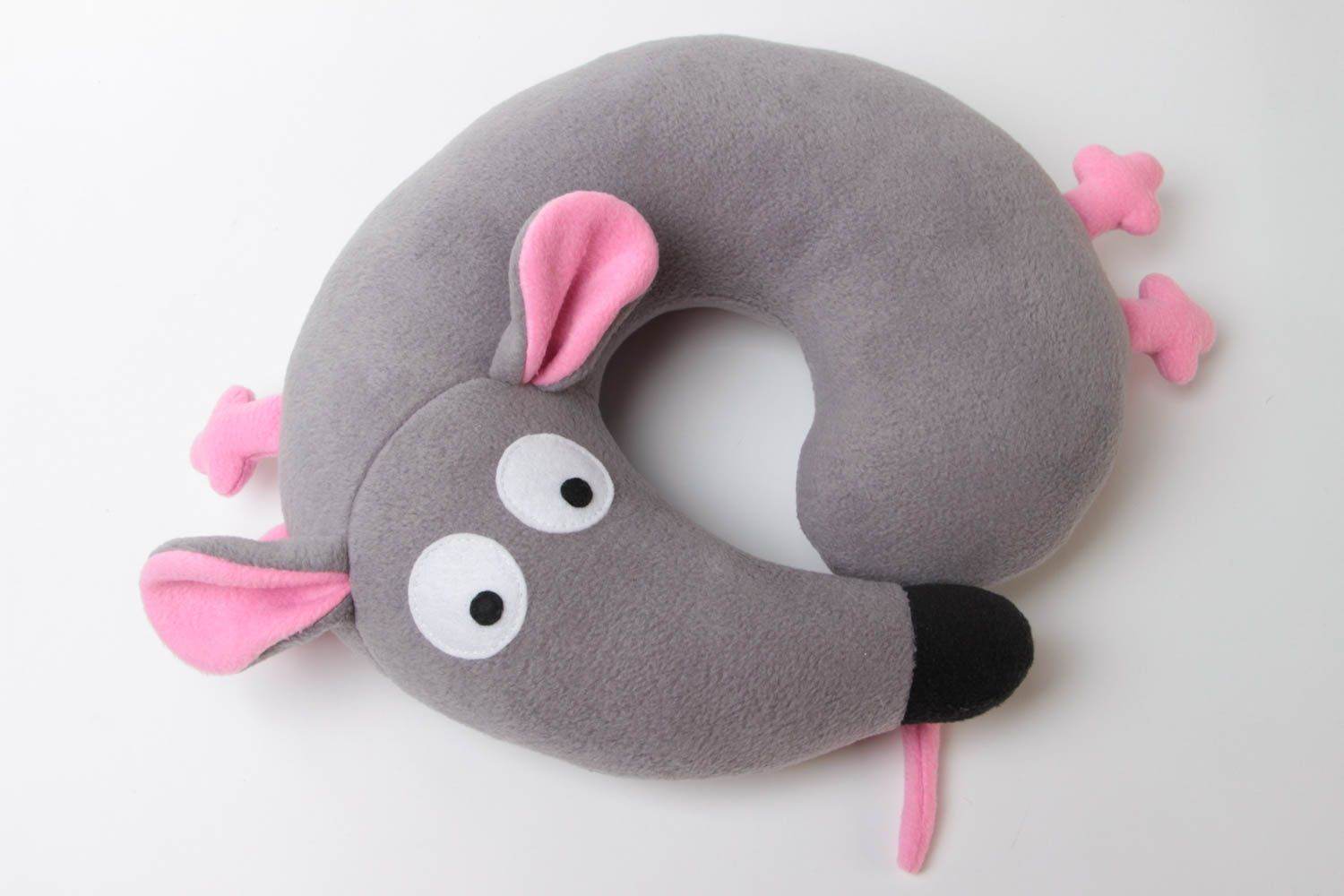 Small handmade travel pillow funny soft pillow pet Gray Mouse photo 1