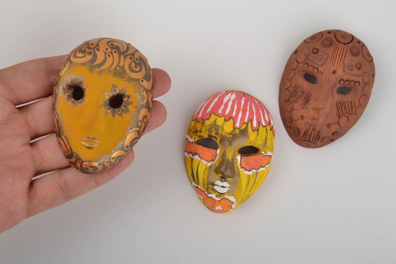 Set of 3 homemade designer ceramic fridge magnets carnival masks photo 5
