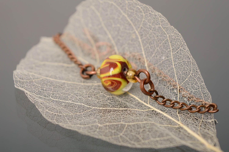 Wrist bracelet with lampwork glass bead photo 3