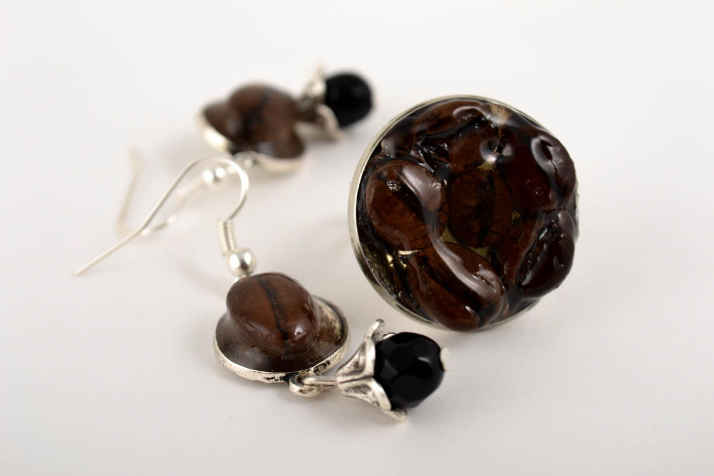 Unusual handmade epoxy earrings epoxy ring gemstone jewelry set handmade gifts photo 5