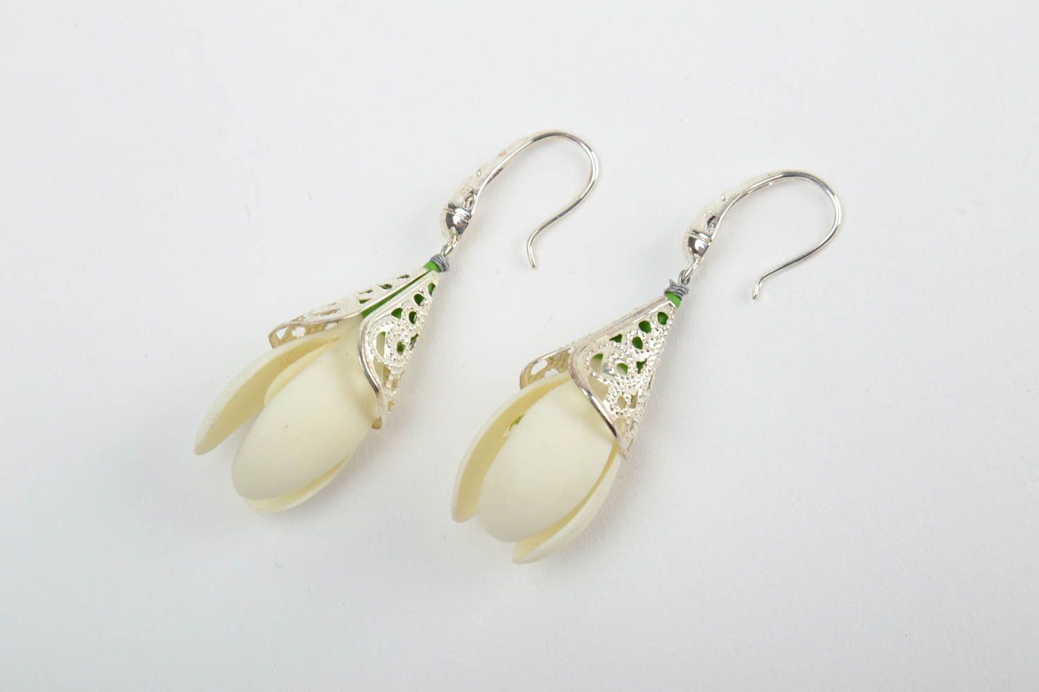 drop earrings Handmade tender dangling earrings with white cold porcelain snowdrop flowers - MADEheart.com