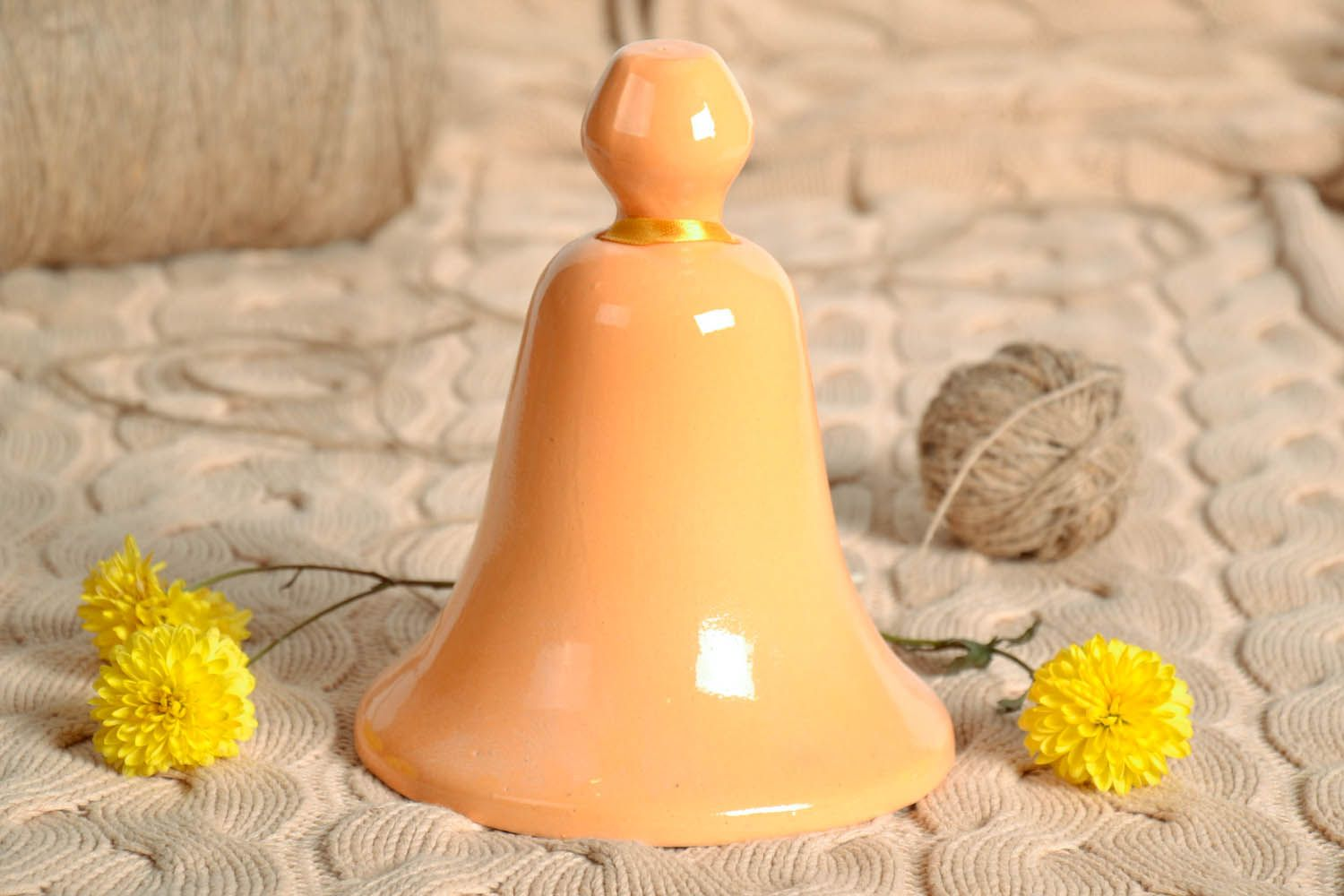 Ceramic bell painted with engobes photo 1