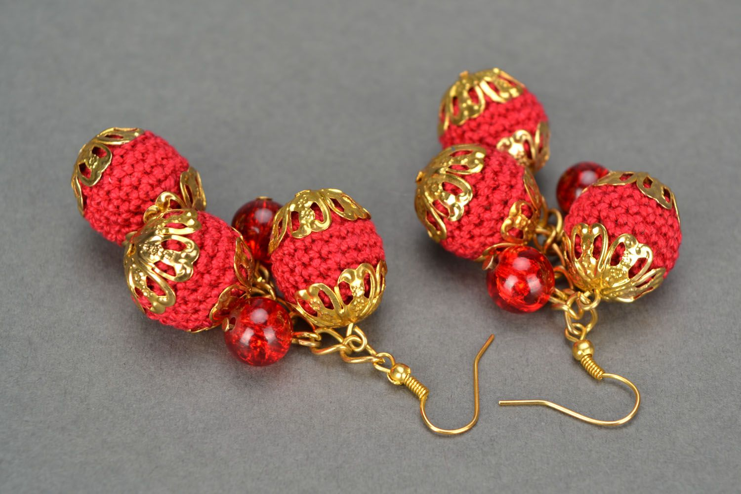 Crochet earrings with charms Cherry Glamor photo 4