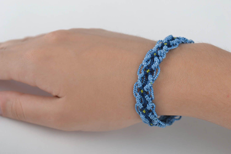 Модный браслет ручной работы браслет на руку дизайнерское украшение синий фото 5