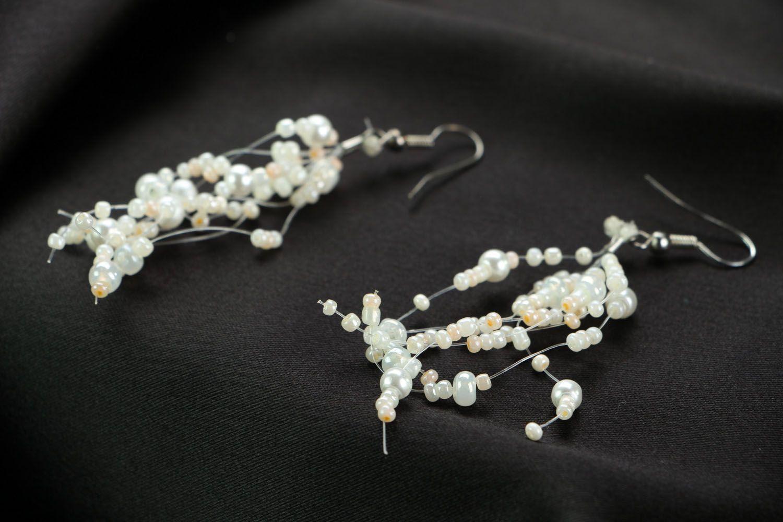 Long beaded earrings Bride photo 2