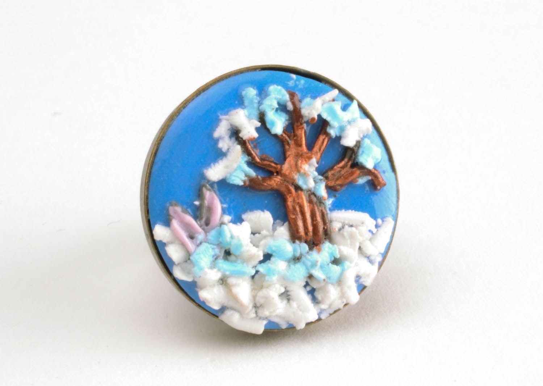 Кольцо из полимерной глины Зимний пейзаж фото 3