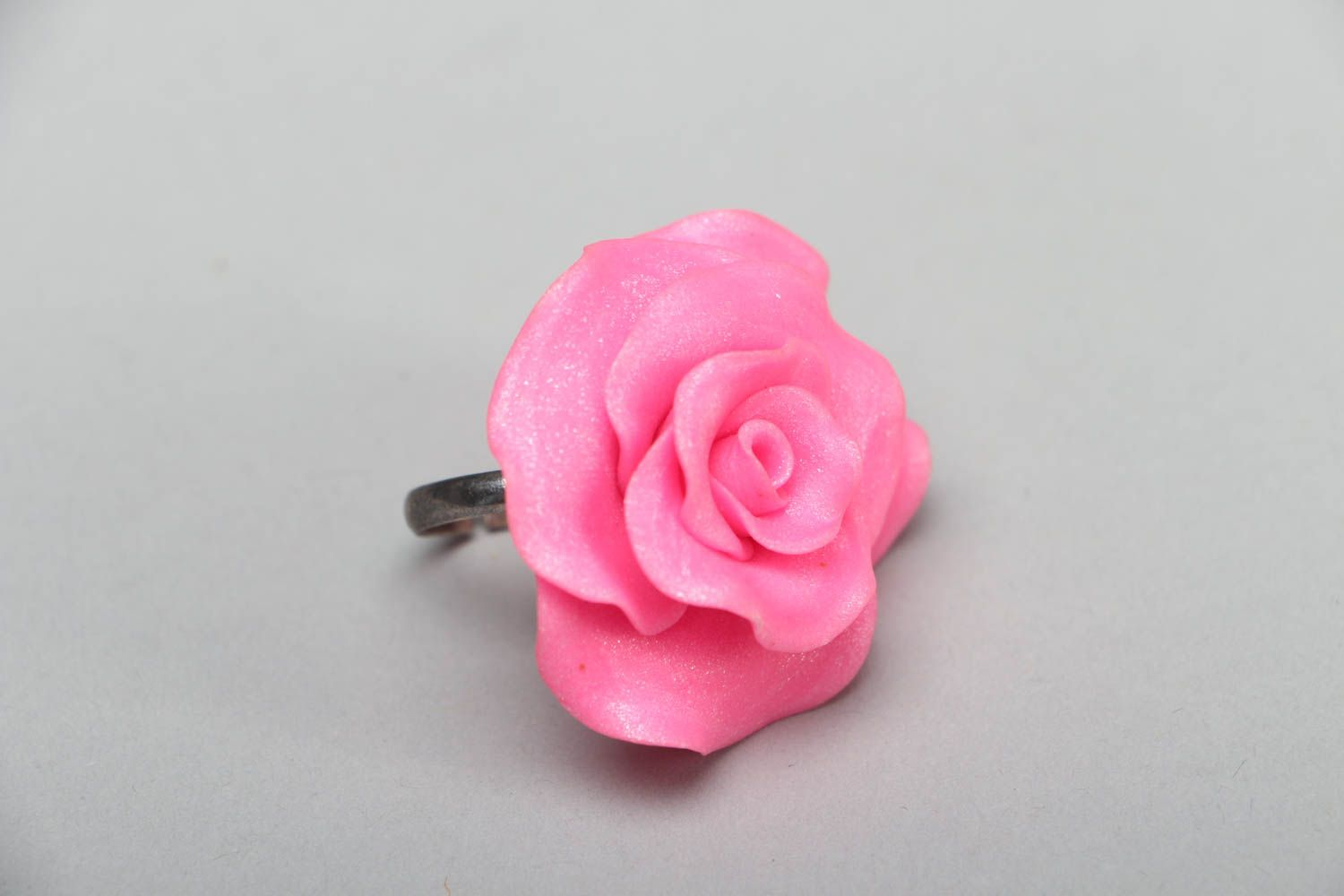 Polymer clay floral ring photo 1