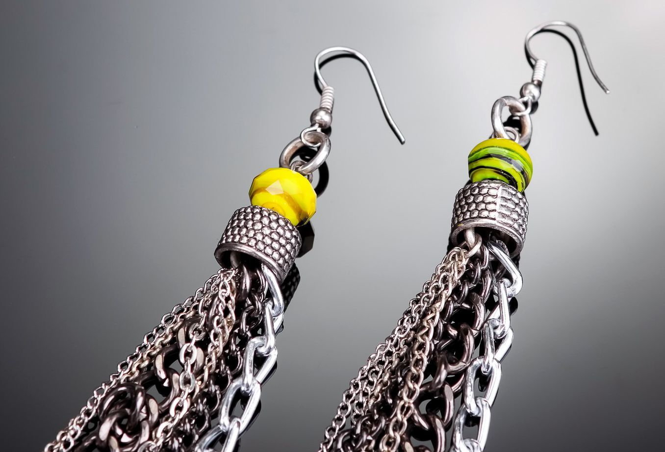 Earrings made of metal Chains photo 2