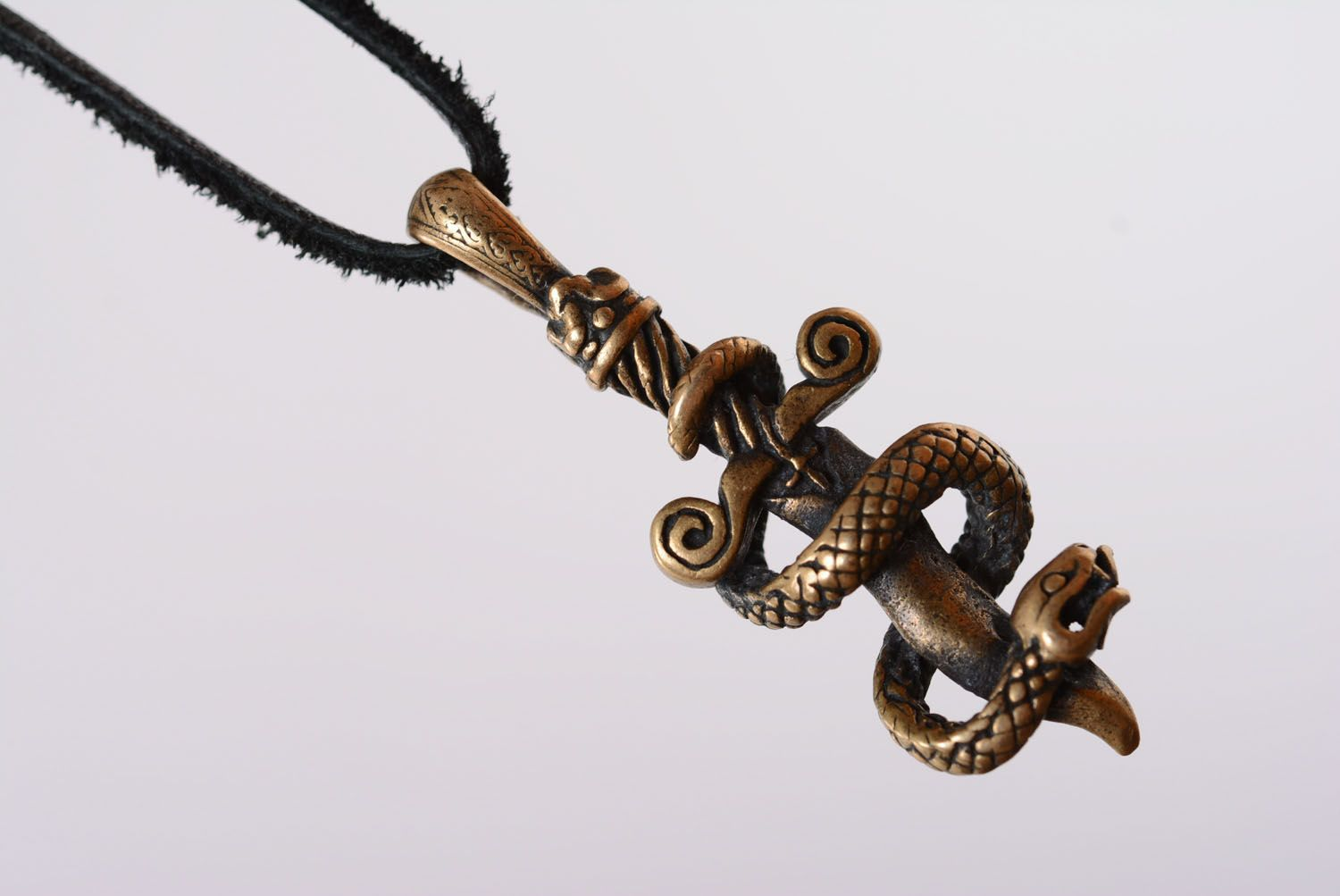 Bronze pendant Snake and Sword photo 3