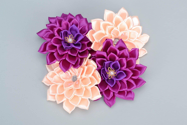 Цветы красивые из атласных лент