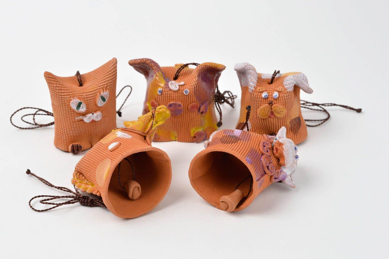 Designer handmade bells clay 5 beautiful animals unusual designer home decor photo 4