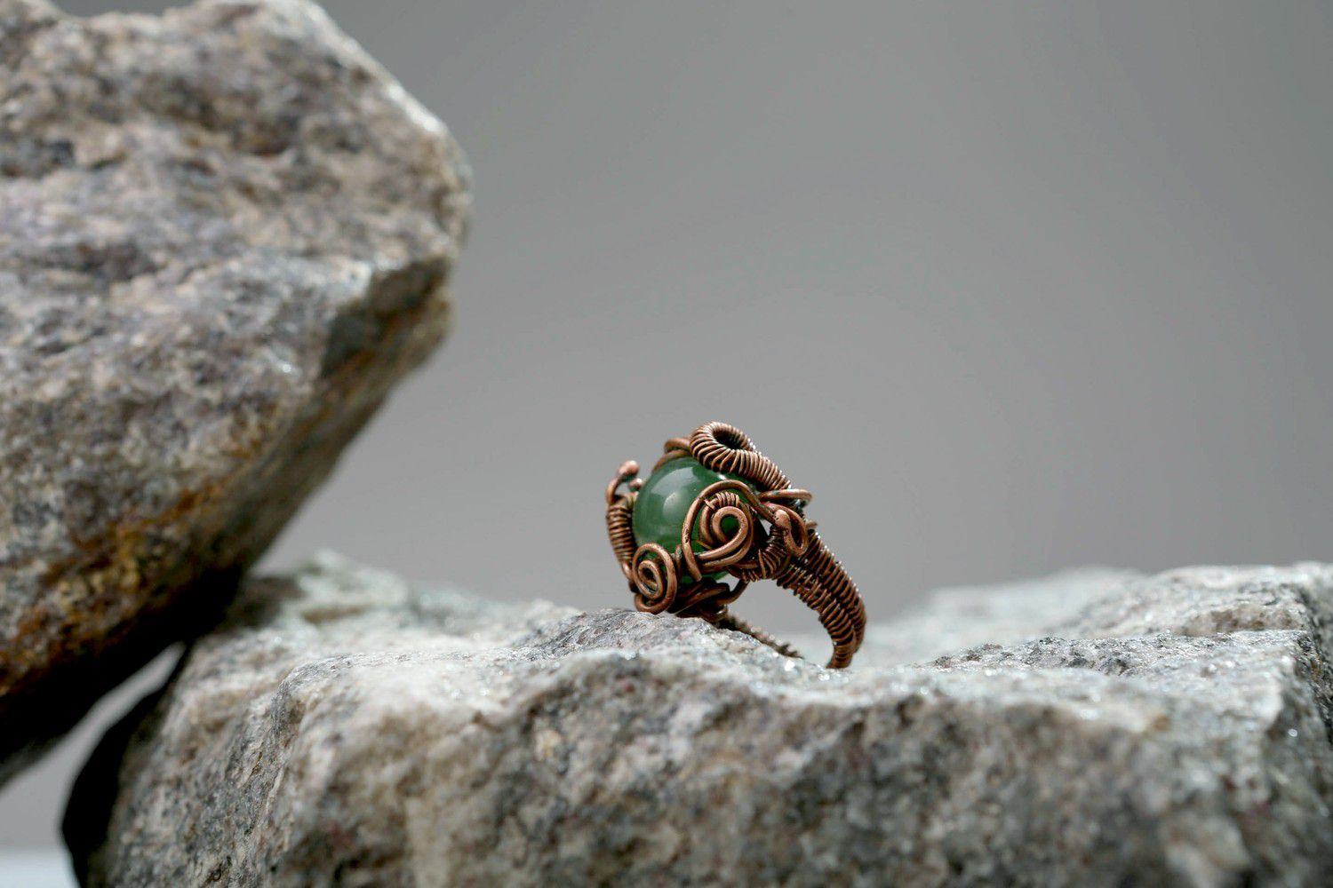 Copper ring with nephrite photo 3